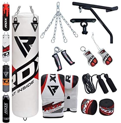 Muay Thai Kickboxing Great for Grappling Comes in 4ft//5ft Karate BJJ And MMA Heavy Filled Bag Set with Hanging Chain and Punching Gloves Martial Arts RDX Punch Bag for Boxing Training
