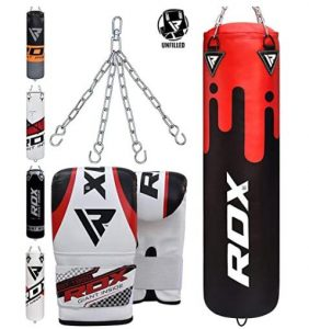 RDX indoor hanging punching bag with chains and gloves