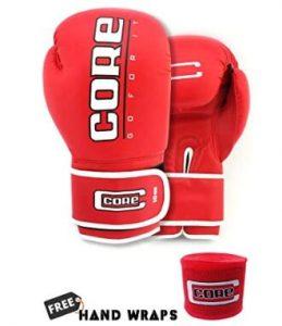 Core heavy bag gloves and handwraps kit for beginner