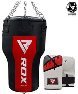 RDX unfilled angle punching bags kit with gloves